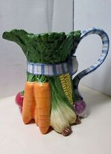 Fitz Floyd Vegetable Blue Bow water Lemonade Pitcher Classics