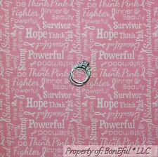 BonEful Fabric Cotton Quilt Pink White Word Breast Cancer Ribbon Lady Sale SCRAP