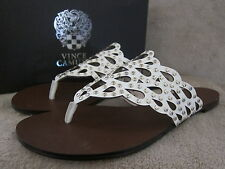 VINCE CAMUTO Barry White Womens Leather Thongs Sandals Shoes US 8.5 M EUR 38 NWB