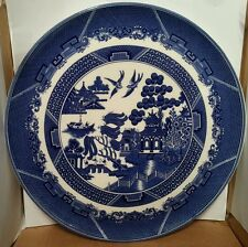 Big Blue & White Willow Pattern Kitchen Wall Plaque Chop Plate Ironstone Pottery