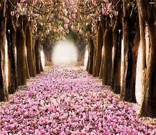 PINK BLOSSOMS LINED TREE GROVE  COMPUTER MOUSE PAD 9 X 7