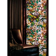 1 Roll Window Film Floral Magnolia Privacy Sticker Vintage Stained Glass Decals