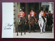 POSTCARD ROYALTY TROOPING THE COLOUR QUEEN PHILIP & CHARLES