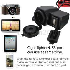 12V USB Fused Motorcycle Waterproof Cigar Cigarette Lighter Power Supply Socket