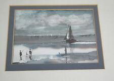 Original aquarelle d j weston pêche plaisirs pêcheurs bateaux 1984