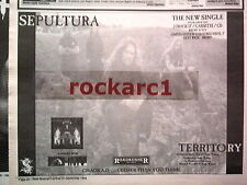SEPULTURA Territory 1993 UK Press ADVERT 12x8 inches