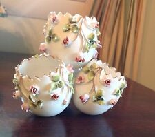 Vista Alegre Porcelain 4 Egg Vase Applied Pink Roses Portugal 1940s Vintage