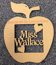 Personalised Teacher Apple Gift Present Thank You, Blank MDF Craft shape