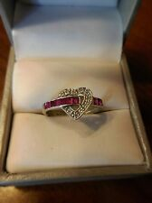 14kt White Gold Heart Ruby and Diamond accent Ring US Size 6 (231)