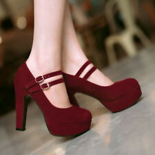 Plus Size Womens chunky high heel platform faux suede buckle strap pumps shoes