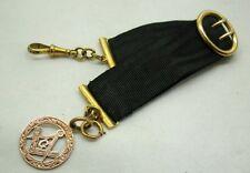 Antique Masonic Black Silk Ribbon Rose Gold Fob With Gold Fittings. Unworn.