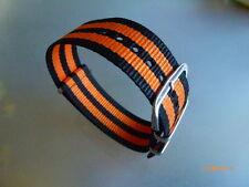 Uhrenarmband Nylon  22 mm schwarz orange NATO BAND Dornschließe Textil
