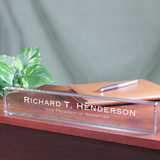 Engraved Executive Name Plate - Personalized Desk Nameplate Office Gift