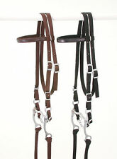 BROWN Nylon Western Leather Overlay Horse Size Complete Bridle New Tack