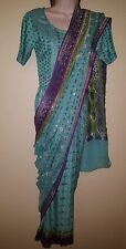 Beautiful chiffon saree, ferozi and parrot green color, only one time used.