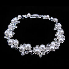 Elegant Pearl & Crystal Wedding Bridal Prom Party Bracelet