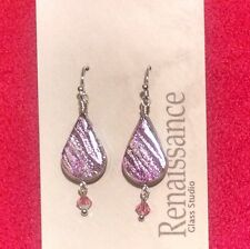 Lotus with Crystal Dichroic Glass Dangle Earrings: Pink