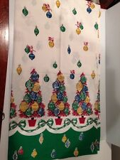 Vintage 1950's COTTON  Print  FABRIC CHRISTMAS ORNAMENTS MADE INTO CURTAINS