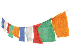 TIBETAN PRAYER FLAGS 10 MINI on 1.2m STRING Buddhist Buddhism FAIR TRADE NEW!