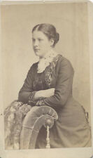 ORIGINAL CDV PORTRAIT OF WELL-DRESSED YOUNG WOMAN W/ CHAIR - LANCASTER, PA