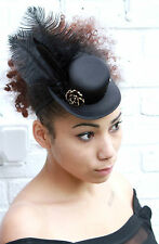 MINI TOP HAT BLACK FEATHER ROSE HALLOWEEN GOTHIC GOTH SEXY VAMPIRE