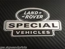 54X30MM SILVER LAND ROVER SPECIAL - DOMED STICKER -  DEFENDER DISCOVERY 90 110