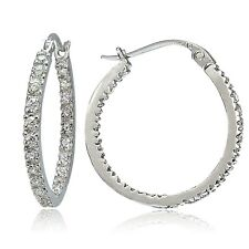 925 Sterling Silver Cubic Zirconia Inside Out 20mm Round Hoop Earrings