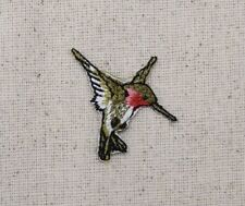 Iron On Embroidered Applique Patch Ruby Red Throat Hummingbird Small MINI Right