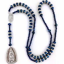 Metal Blue Virgin Mary Our Lady of Guadalupe Crystal Rhinestone Rosary Rosario