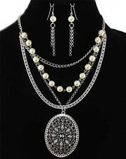 Pearl Crystal Silver Pendant Earrings Necklace Set Filigree Multi Layer Jewelry
