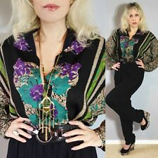 Vtg 80 Plunging Palazzo Batwing Pleated Drape High Waist dress JUMPSUIT Bodysuit
