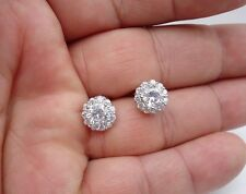 925 STERLING SILVER ROUND SHAPE STUD EARRINGS W/3 CT DIAMONDS/BREATHTAKING PIECE