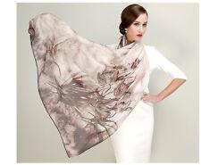 DX Floral Real Silk Scarf Grey Wrap Long Shawl 100% High Quality 180x110 DO15002