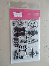 Pink Paislee Trick or Treat Clear Stamp Set by Holly McCaig Halloween 10 Pcs NIP