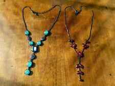 2x NECKLACES Red Flowers & Green on Black Chain