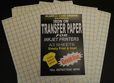 A3 Inkjet Iron On T Shirt Transfer Paper For Dark Fabrics 5 Sheets