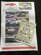 DECALS 1/24 PEUGEOT 205 GTI BOUQUET RALLYE TOURAINE 1985 RALLY WRC TAMIYA