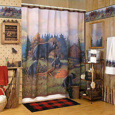 Avanti Black Bear Family Lodge Fabric Shower Curtain Rustic Country Cabin New