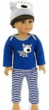"""Cute Doggy 3 pc Pajamas Boy fits 18"""" American Girl Doll Clothes"""