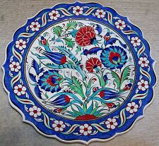 "Iznik Tulip, Carnation & Daisy Pattern 12"" (30cm) Turkish Handmade Ceramic Plate"