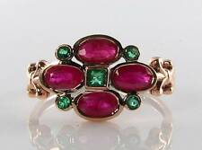 COMBO 9K 9CT ROSE GOLD INDIAN RUBY & COLOMBIAN EMERALD ART DECO INS RING