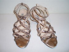 Jimmy Choo London Reptile Beige & Brown Leather Sandals--Size 8 M - Italy