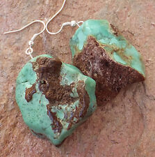 ICE CREAM CONE TOP ! CHRYSOPHRASE MINT CHOCOLATE GREEN EARRINGS NATURAL JEWELRY