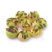8 Maison De Poupées Miniature Vert beignets glacés avec glaçage au chocolat