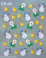 Christmas White Snowflakes Bows Snowman Stars 3D Nail Art Stickers Decals 06