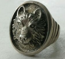 HUGE Otto Sterling Silver 1.1 ounce WOLF Ring Size 12.5
