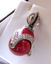 SALE ! RUSSIAN PENDANT MADE OF STERLING SILVER 925 with GENUINE CORAL &  ENAMEL
