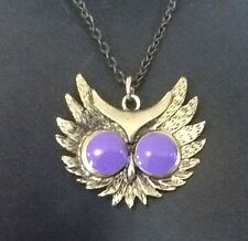 Owl Pendant Necklace Huge Enamel PURPLE EYES vintage style Bronze Metal Chain