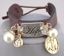 Brown Leather Hope Bracelet Gold Silver Pearl Charms Fashion Jewelry NEW