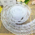 New 5 Yards 4-layer 50mm White Pleated Trim Mesh Lace Sewing Sequin Gathered